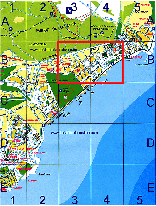 Map for the street market in La Mata