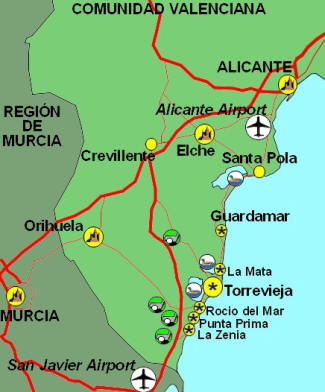 Map for the Costa Blanca